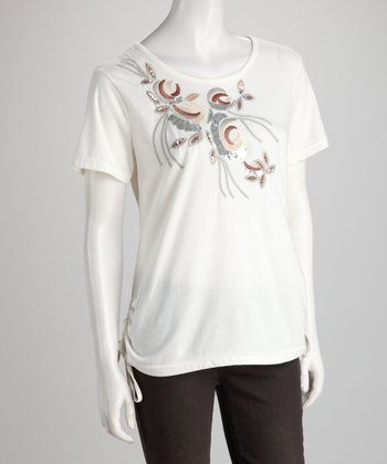 White Sequin Bough Tee