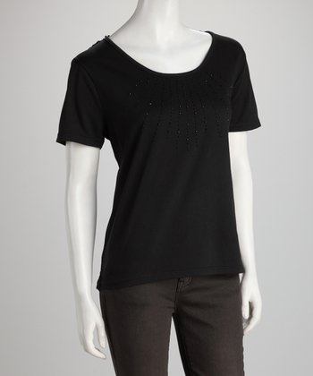 Black Rhinestone Crocheted-Back Top