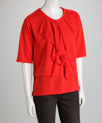 Red Ruffle Tank & Open Cardigan