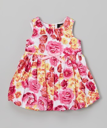 Pink & Orange Floral Bubble Dress - Infant, Toddler & Girls