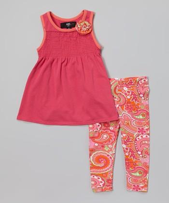 Pink Tunic & Coral Paisley Leggings - Infant, Toddler & Girls