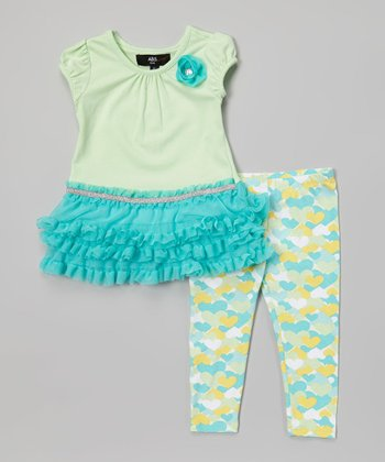 Blue Ruffle Tunic & Heart Leggings - Infant, Toddler & Girls