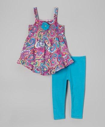 Magenta Paisley Tunic & Blue Leggings - Infant, Toddler & Girls