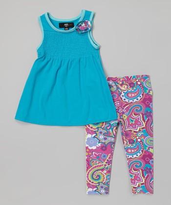 Blue Tunic & Magenta Paisley Leggings - Infant, Toddler & Girls