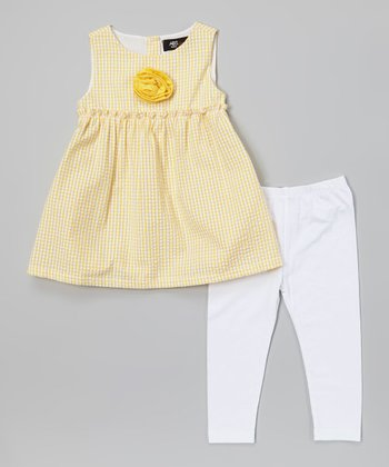 Yellow Gingham Tunic & White Leggings - Infant, Toddler & Girls