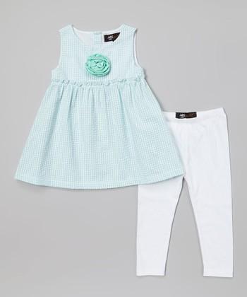 Blue Gingham Tunic & White Leggings - Infant, Toddler & Girls