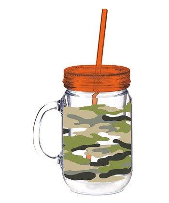 Camo Mason Jar Cup & Straw