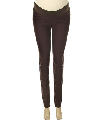 Brown Under-Belly Maternity Skinny Pants
