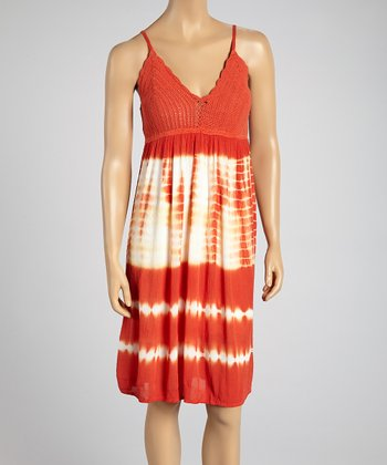 Coral Crocheted Tie-Dye Sundress