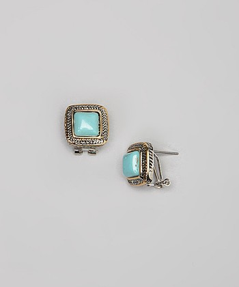 Turquoise & Two-Tone Braided Square Earrings