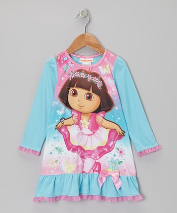 Aqua & Pink Dora Ballerina Nightgown - Toddler