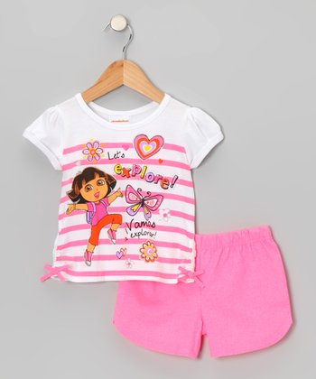 Coral 'Let's Explore' Dora Tee & Shorts - Toddler