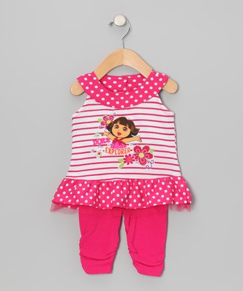 Pink Stripe 'Dora' Yoke Top & Leggings - Infant & Toddler