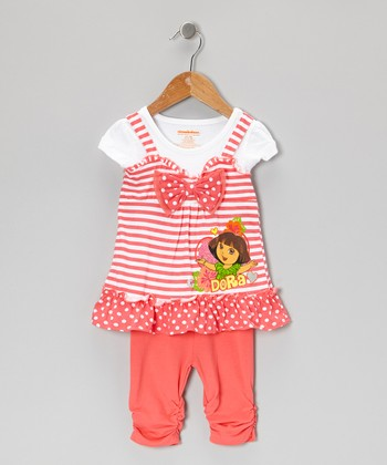 Coral Stripe Dora Layered Tunic & Leggings - Infant