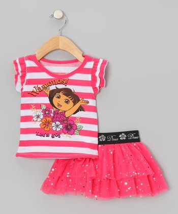 Pink Stripe Dora Tee & Tutu Skirt - Infant