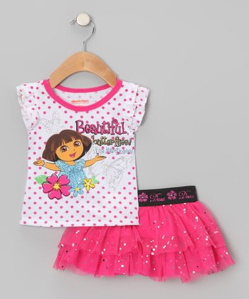 Pink Dora Angel-Sleeve Top & Tutu Skirt - Infant