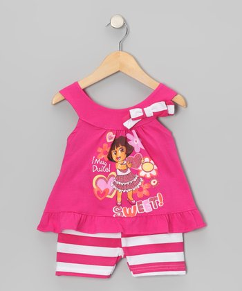 Pink Dora Yoke Top & Stripe Shorts - Infant