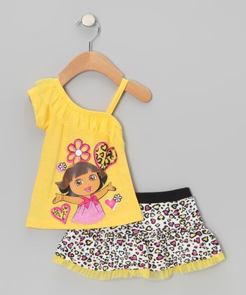 Yellow Dora Asymmetrical Tank & Cheetah Skirt - Infant & Toddler