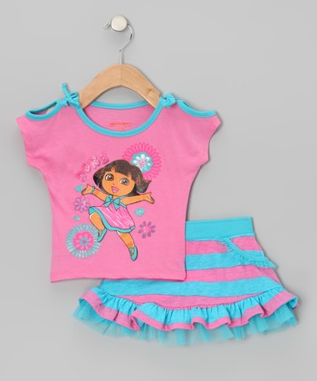 Pink & Aqua Dora Tee & Ruffle Skirt - Infant, Toddler & Girls