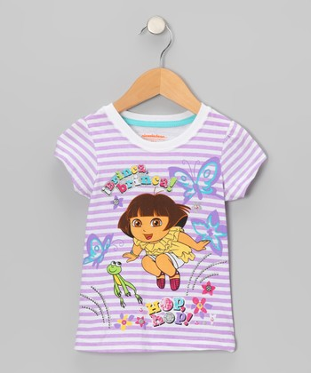 Purple Stripe 'Hop Hop' Dora Tee - Toddler