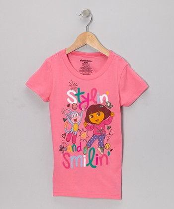 Hot Pink 'Stylin' and Smilin'' Dora Tee - Girls