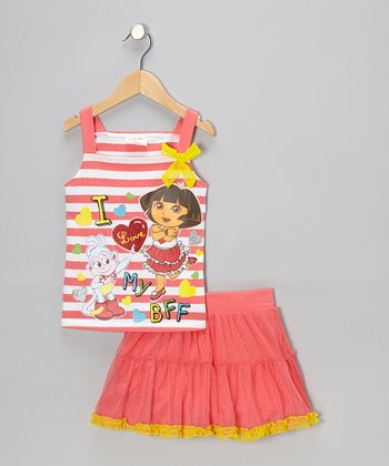 Coral Stripe Dora 'BFF' Tank & Skirt - Infant, Toddler & Girls
