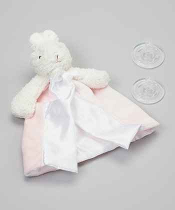 Pink Bunny Pacifier Blanket Set