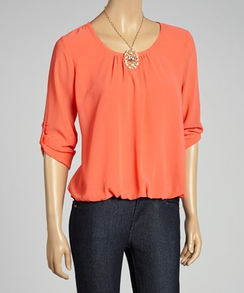 Coral Draped Hi-Low Top & Necklace
