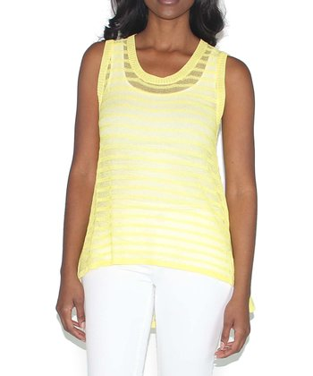 Lemon Sheer Ribbed Hi-Low Tank