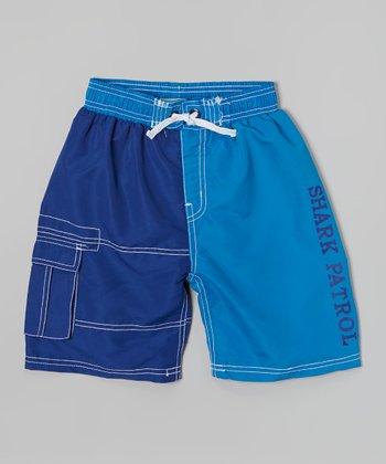 Shark Patrol Navy & Blue Swim Trunks - Boys