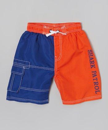Shark Patrol Blue & Orange Swim Trunks - Boys