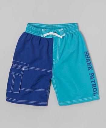 Shark Patrol Turquoise & Blue Swim Trunks - Boys