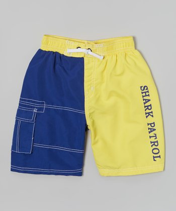 Shark Patrol Blue & Yellow Swim Trunks - Boys