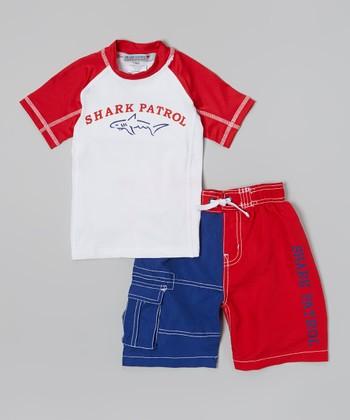 Shark Patrol Red & White 'Shark Patrol' Rashguard & Swim Trunks - Boys