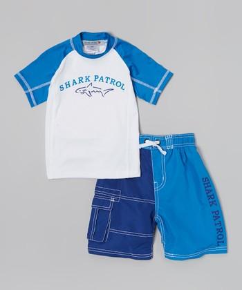 Shark Patrol Blue & White 'Shark Patrol' Rashguard & Swim Trunks - Boys