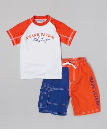 Shark Patrol Orange & White 'Shark Patrol' Rashguard & Swim Trunks - Boys