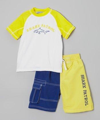 Shark Patrol Yellow & White 'Shark Patrol' Rashguard & Swim Trunks - Boys