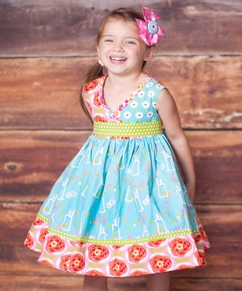 Blue & Pink Abbey Dress & Bow Clip - Toddler & Girls
