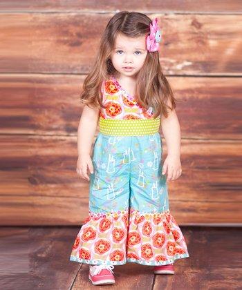 Blue & Pink Bunny Hop Jumpsuit - Infant