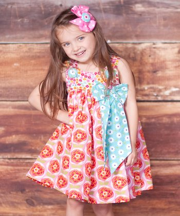 Pink Bunny Hop Puffy Dress & Bow Clip - Infant, Toddler & Girls