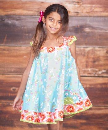 Blue Bunny Hop Swirl Dress & Bow Clip - Infant, Toddler & Girls