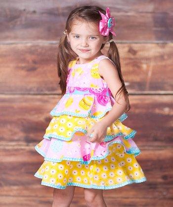 Pink & Yellow Psanka Twirl Dress - Infant, Toddler & Girls