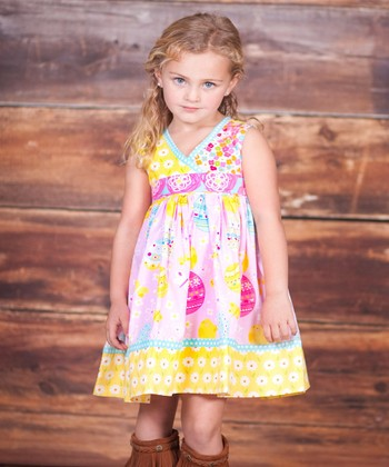 Pink & Yellow Abbey Dress & Bow Clip - Infant, Toddler & Girls