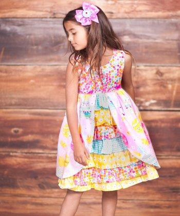 Pink & Yellow Psanka Dress & Bow Clip - Infant, Toddler & Girls