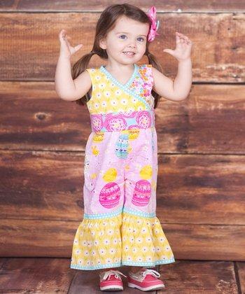 Pink & Yellow Psanka Jumpsuit - Infant