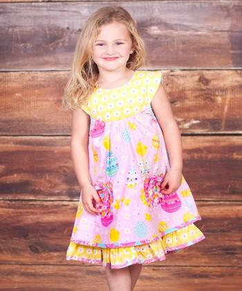 Pink & Yellow Psanka Sailor Dress - Infant, Toddler & Girls