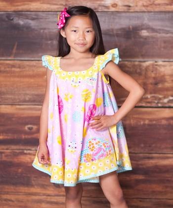 Pink Psanka Swirl Dress & Bow Clip - Infant, Toddler & Girls