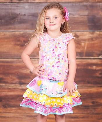 Pink Psanka Top & Tiered Skirt - Infant, Toddler & Girls