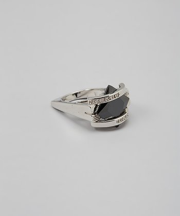 Black & Sparkle Square Bridge Cocktail Ring