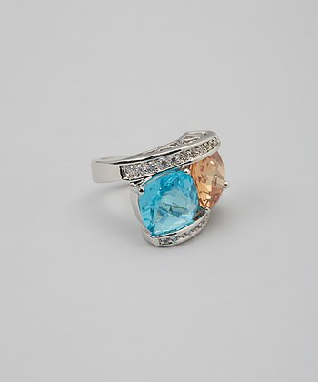 Aqua Blue & Champagne Framed Double Gems Cocktail Ring